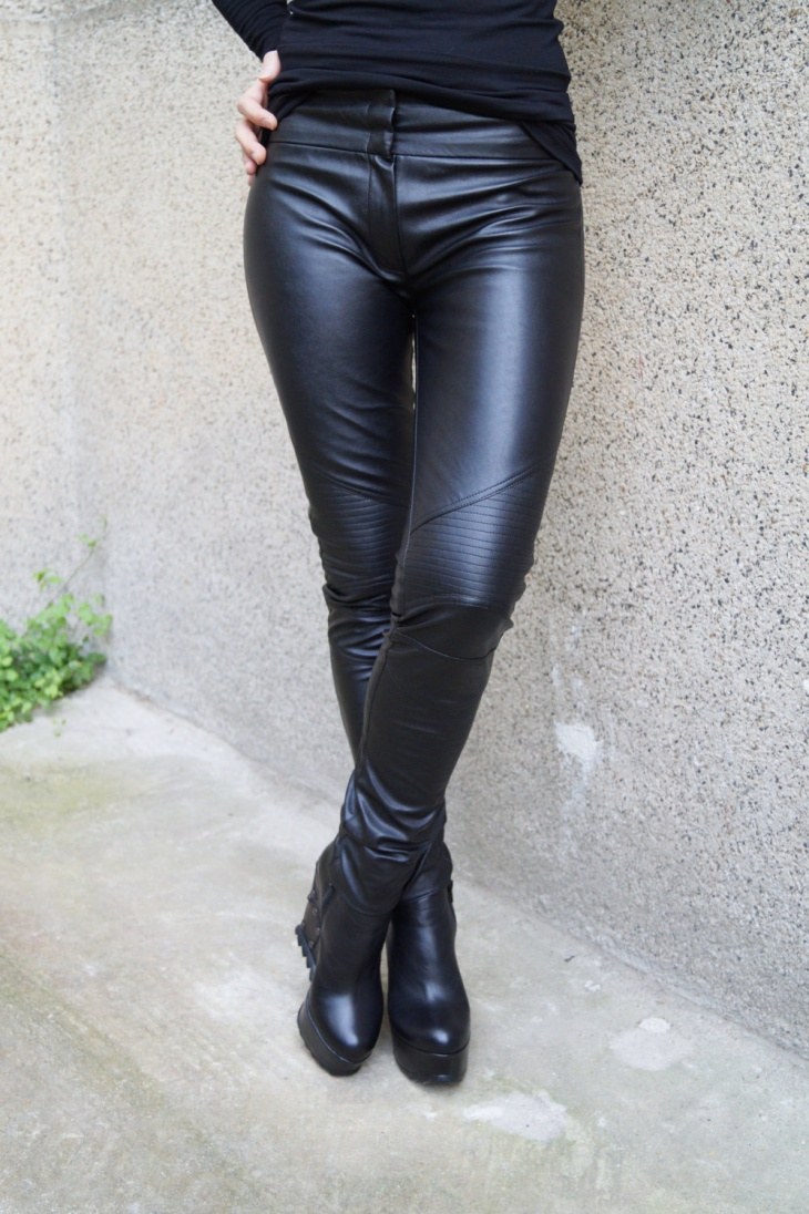 biker leather tight pants