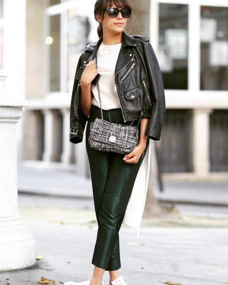 elegant leather outfit idea