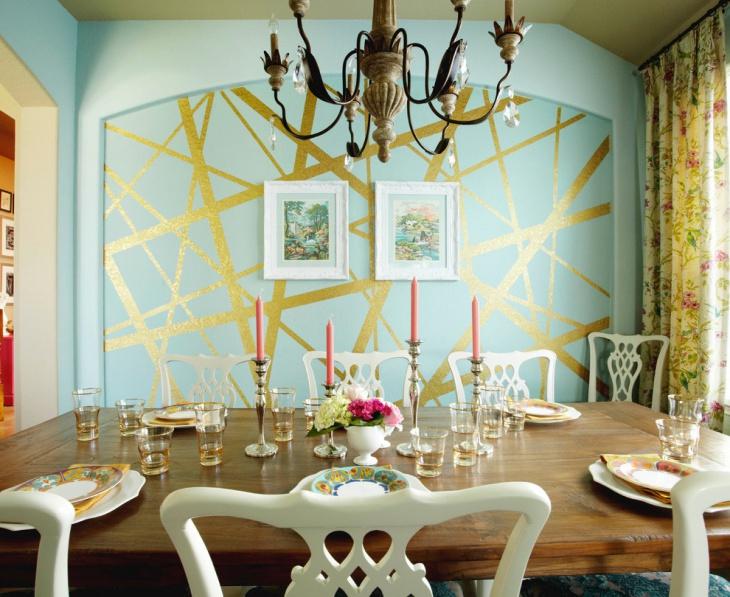 Geometric Dining Room Wall Design