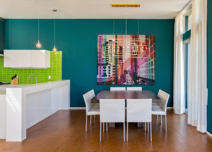 Colorful Geometric Wall Dining Room