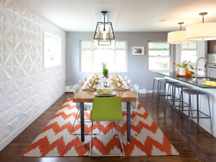 White Geometric Wall Dining Room