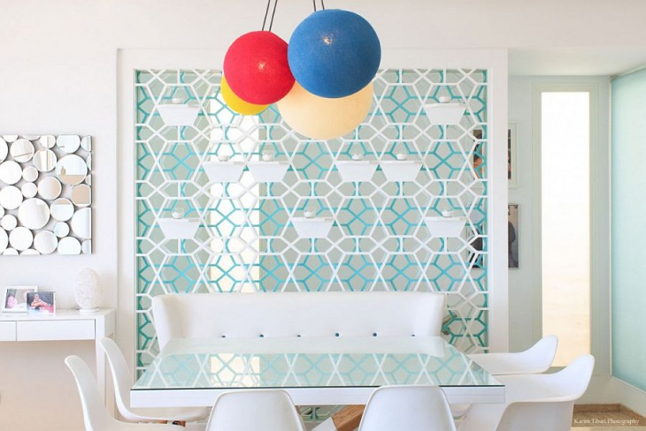 Geometric Wall Glass Dining Table