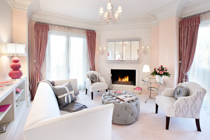 White Eclectic Feminine Living Room