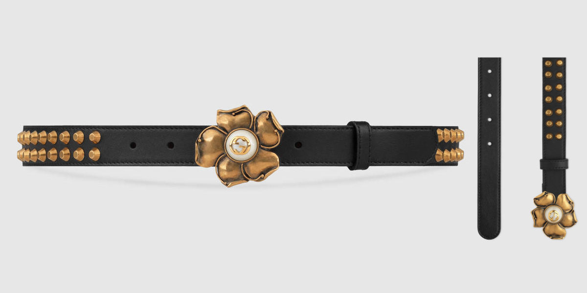 gucci studded leather belt with metal flower