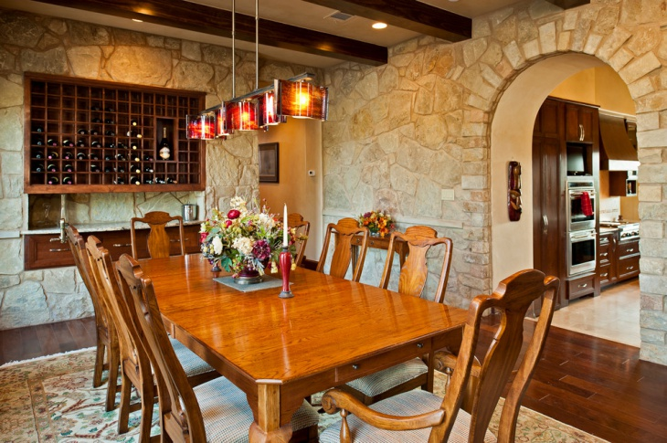 wine rack with tuscan dining table