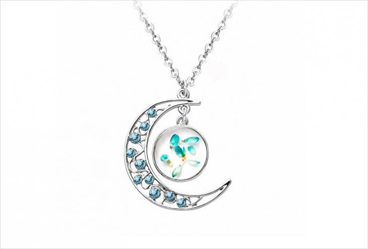 crescent floral pendant design