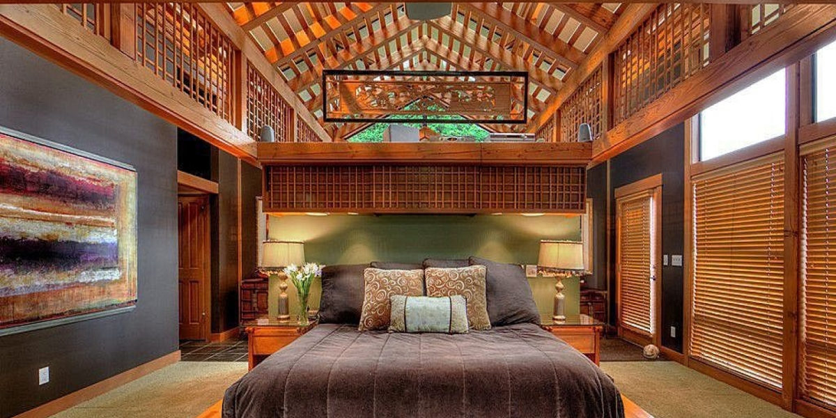 cavern style master bedroom
