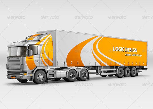 semi truck mockup design
