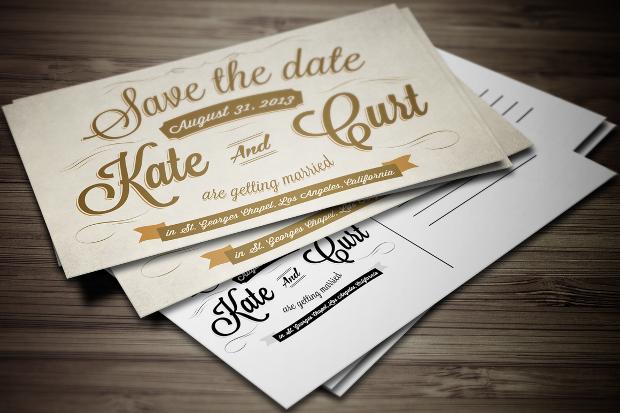 Retro Wedding Invitation Postcard
