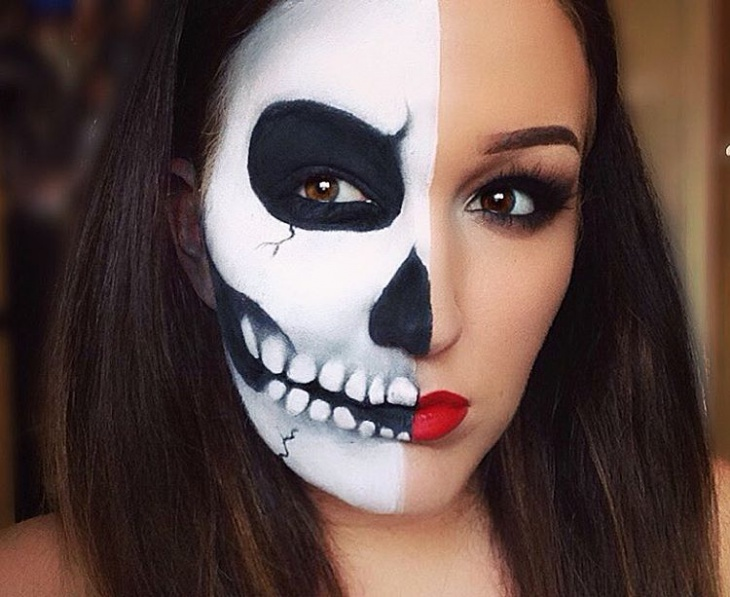 black and white half face makeup