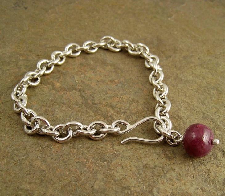 silver ruby bracelet design