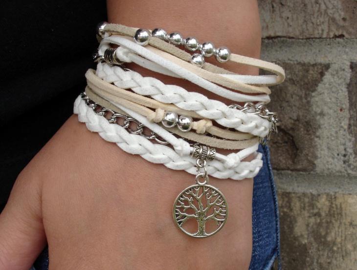 white braided bracelet design