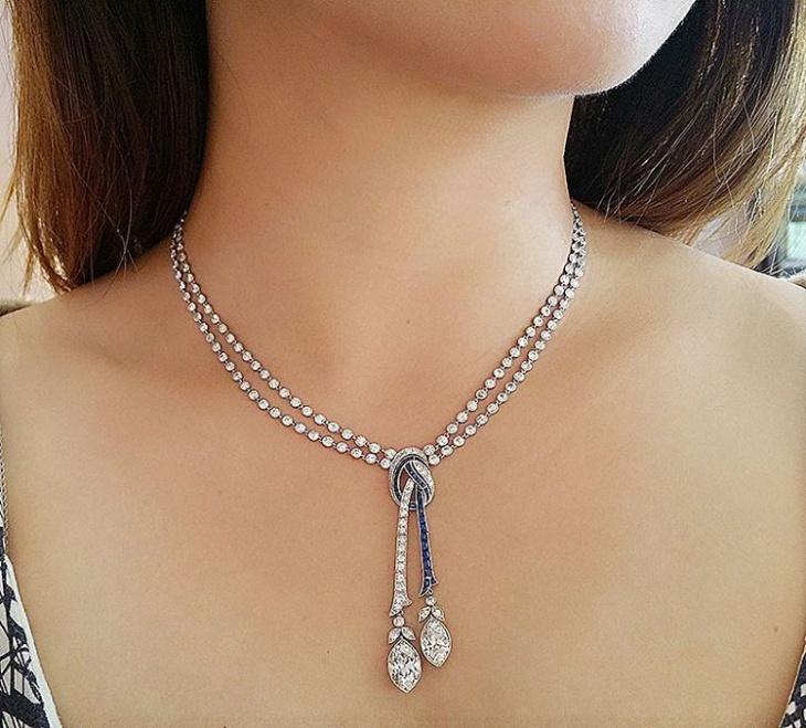 antique diamond knot necklace