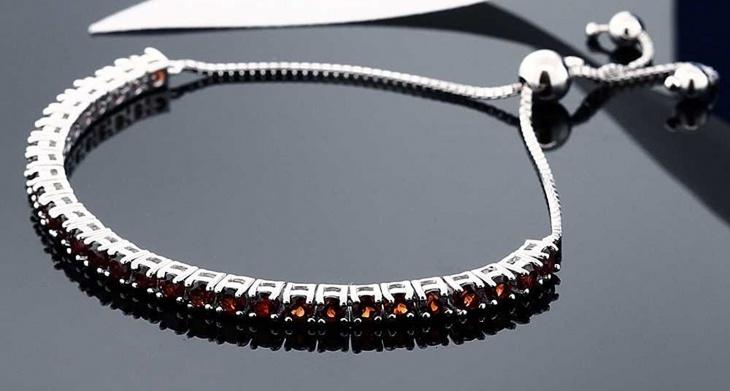 silver garnet bracelet design