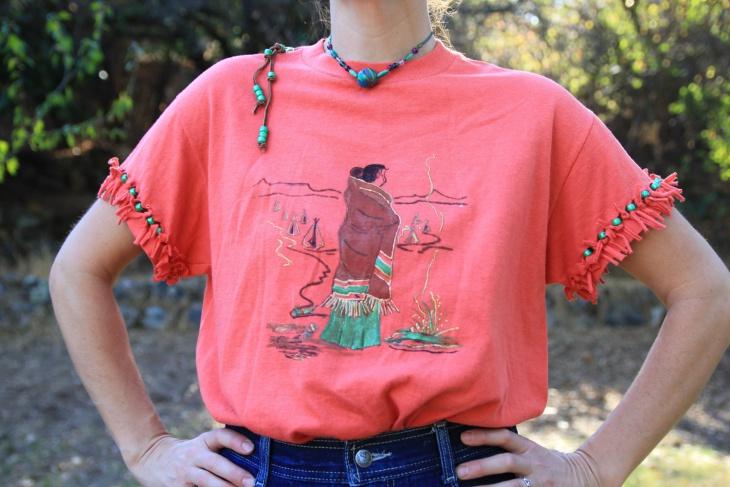 fringe t shirt with beads
