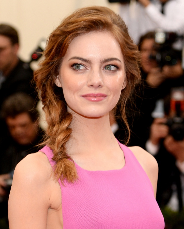 Emma Stone Loose Side Braid Ponytail Hair