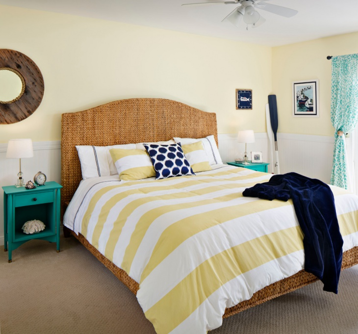 yellow beach themed bedroom