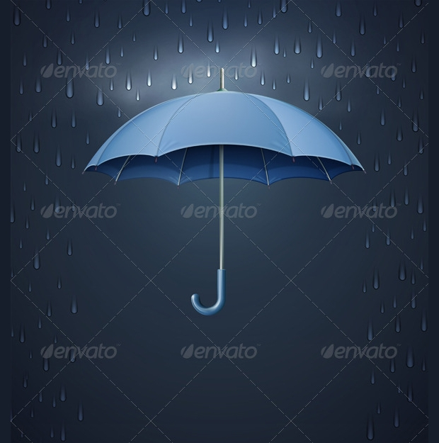 Opened Umbrella Rain Vector Design