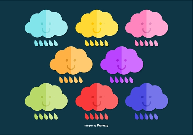 Colorful Rain Cloud Vector