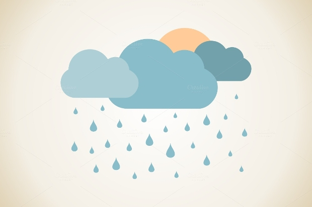 Rain and Cloud Vector Illustration
