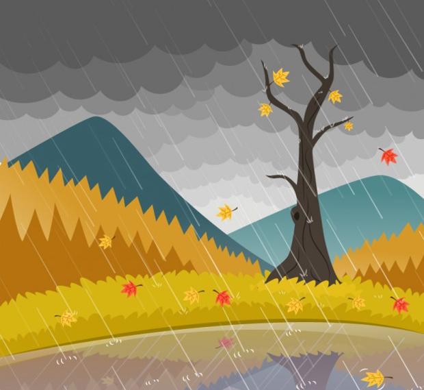 Rain Landscape Vector