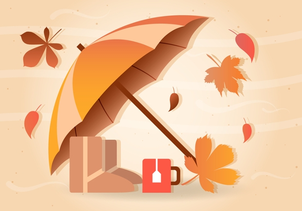 Rain Fall Umbrella Vector
