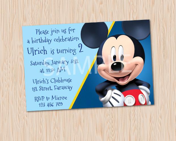 Mickey Mouse Printable Birthday Invitation