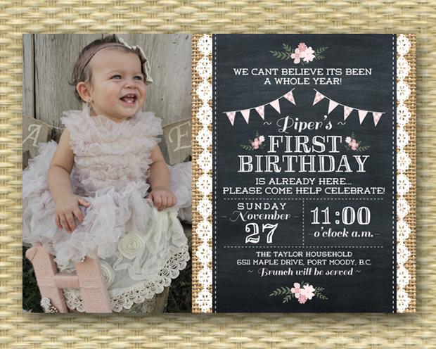 Vintage 1st Birthday Invitation