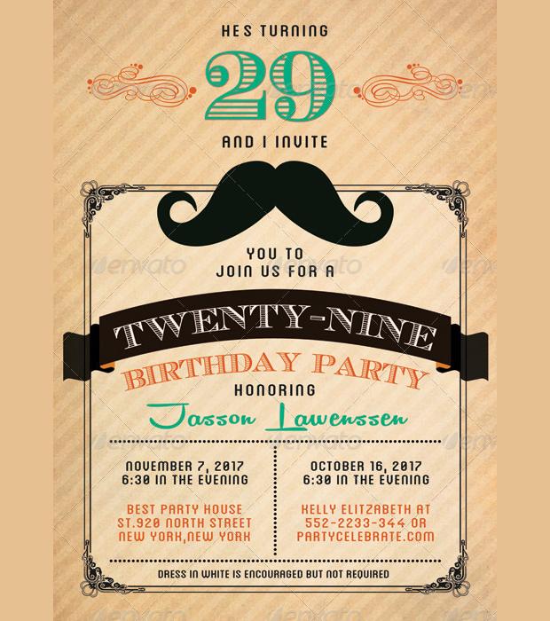 Funny Mustache Birthday Invitation