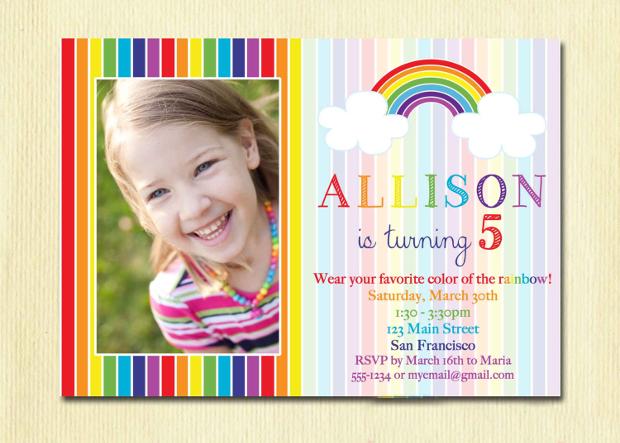 Diy Rainbow Birthday Invitation