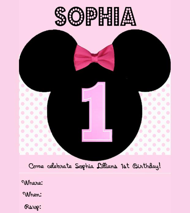 Minnie Mouse Blank Birthday Invitation