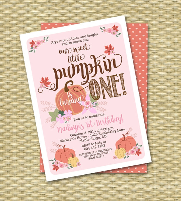 Pumpkin Fall Birthday Invitation