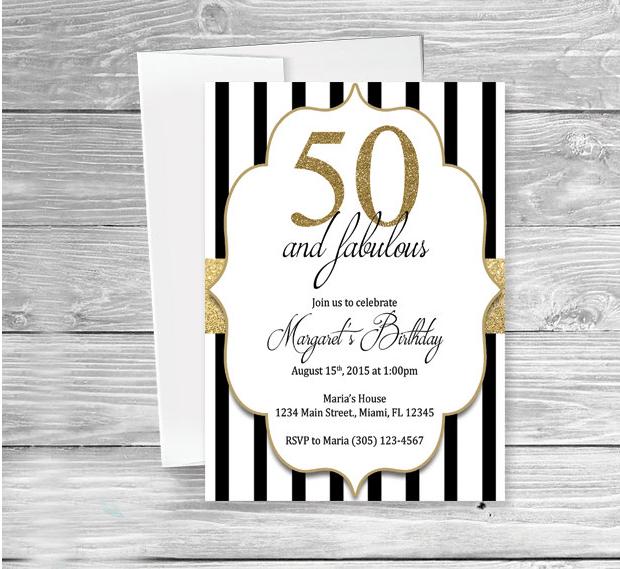 Black and White 50th Birthday Invitation