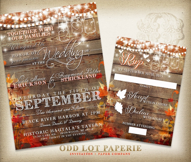 fall wedding invitations 30 wedding invitations printable psd ai vector eps 4039