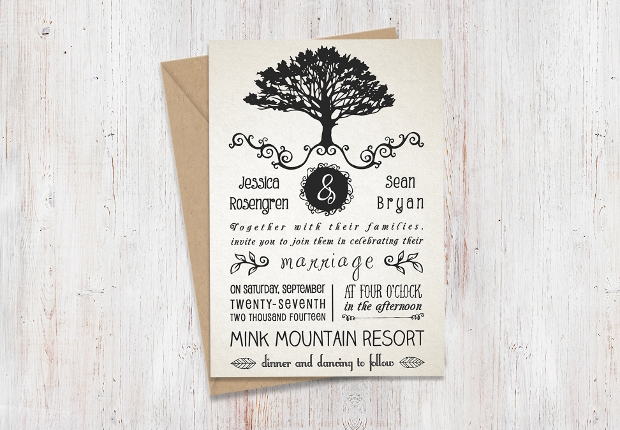 Rustic Printable Wedding Invitation