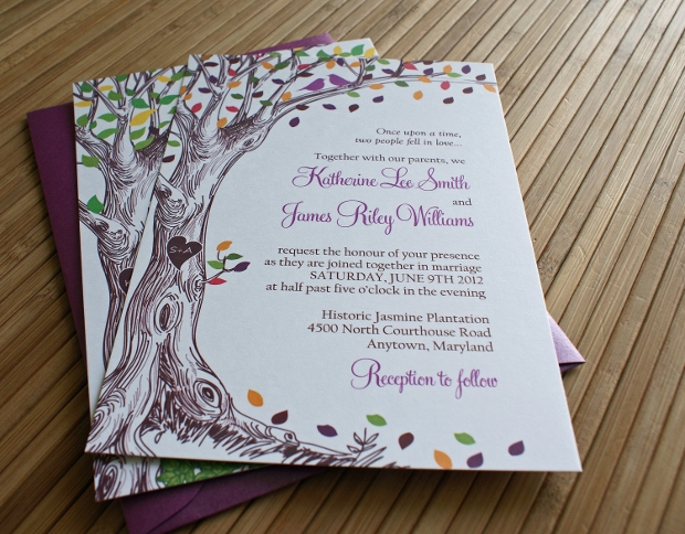 Purple Rustic Wedding Invitation Design