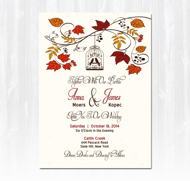 Printable Fall Wedding Invitation