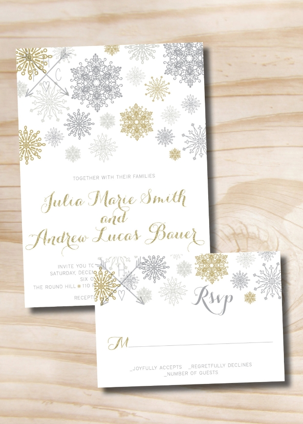 Glitter Snowflake Wedding Invitation