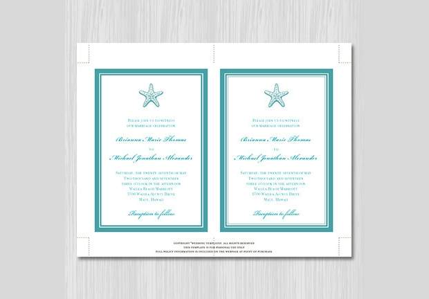 Printable Beach Wedding Invitation Design