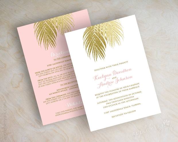 Beach Wedding Reception Invitation Design