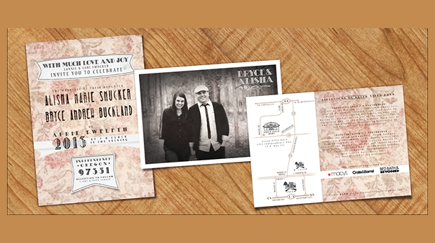 Vintage Photo Wedding Invitation