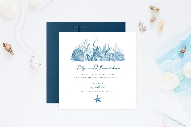 Vintage Nautical Wedding Invitation