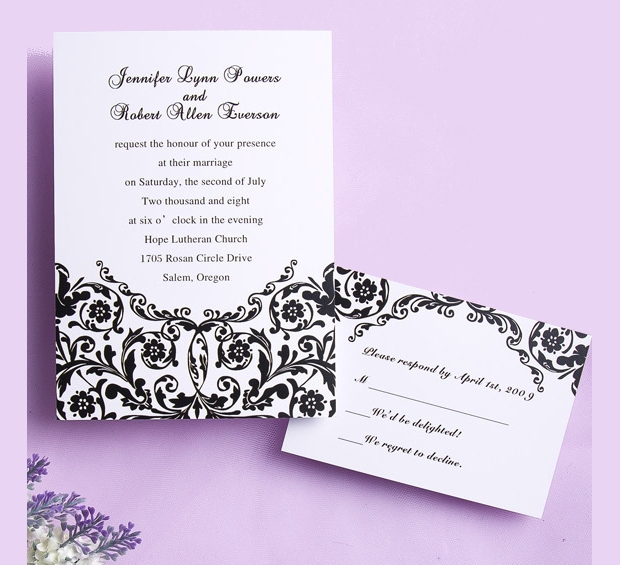 Diy Black and White Wedding Invitation