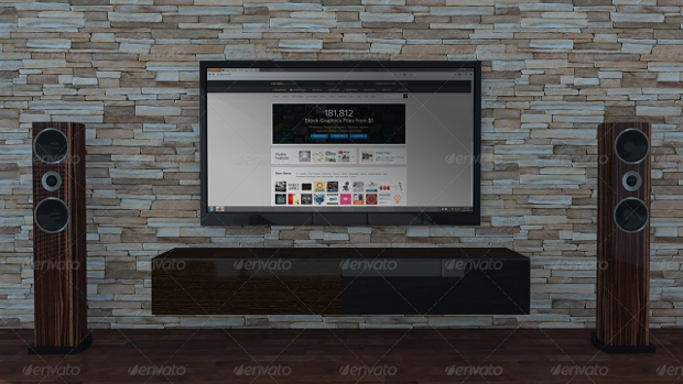 living room tv mockup
