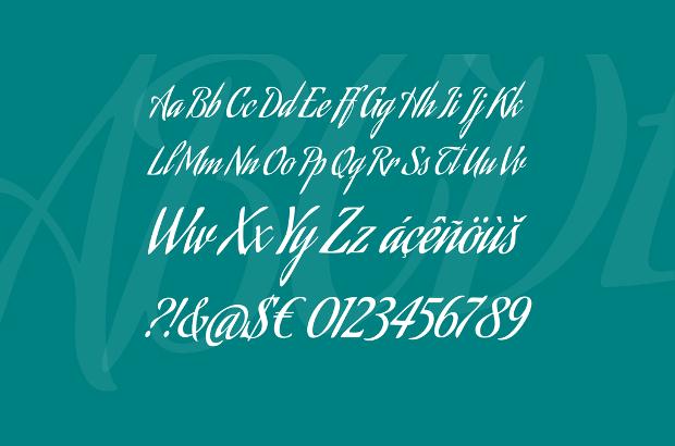 cursive calligrapy alphabet font