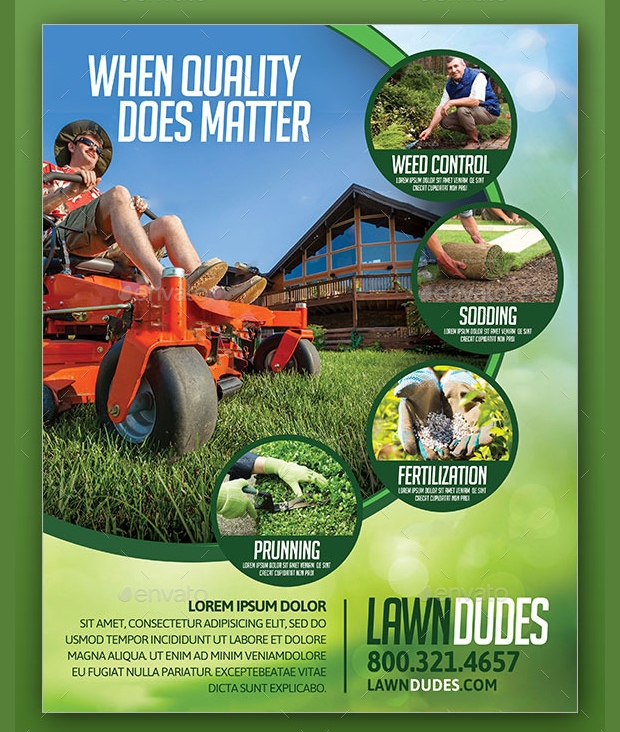 15 Lawn Care Flyer Templates Printable Psd Ai Vector