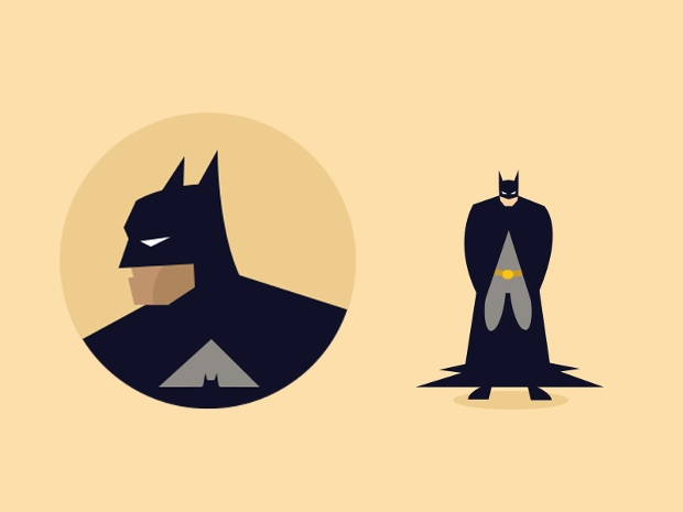 batman flat character design