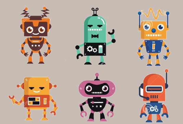 geek robot character design