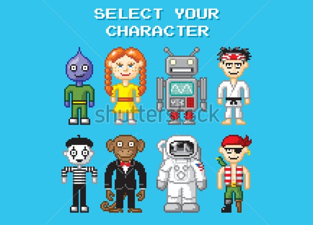 retro video game character design