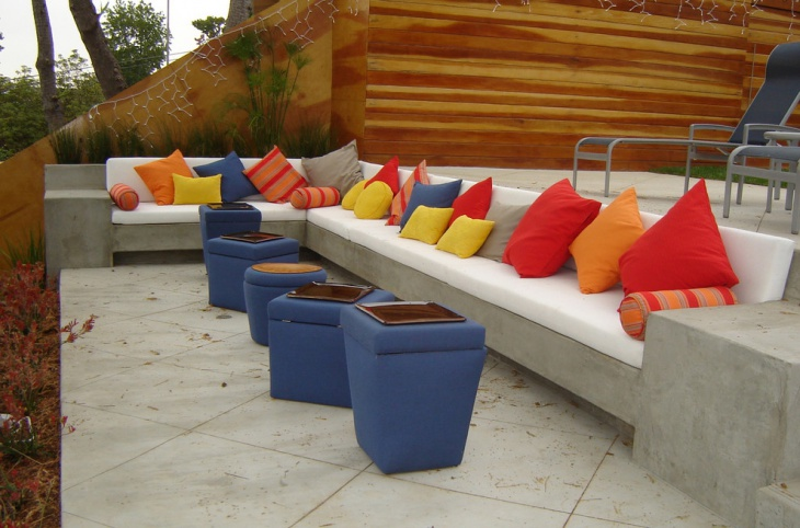 concrete l shaped patio furniture